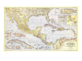 1947 Countries of the Caribbean Map Prints