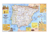 Travelers Map Of Spain And Portugal Map 1984 Side 1 Posters af National Geographic Maps
