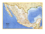 1973 Mexico Map Posters