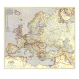 1940 Europe and the Near East Map Prints by  National Geographic Maps