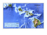 1995 Hawaii Map Poster