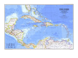 1981 West Indies and Central America Map Poster av  National Geographic Maps