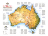 Travelers Look At Australia Map 1988, Giclee Print