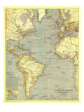 1939 Atlantic Ocean Map Print by  National Geographic Maps