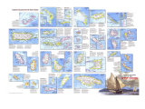 Tourist Islands of the West Indies Map 1981, Giclee Print