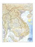 Vietnam, Cambodia, Laos, And Thailand Map 1967 Kunstdrucke