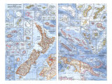 1962 New Zealand, New Guinea and the Principal Pacific Islands Map Prints by  National Geographic Maps