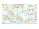 Mexico, Central America And The West Indies Map 1939 Posters af National Geographic Maps