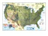1996 United States, the Physical Landscape Map Posters by  National Geographic Maps