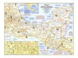 1968 Archeological Mapa de medio América Láminas por  National Geographic Maps