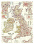 British Isles Map 1958 Prints