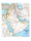 Middle East Map 1991 Prints