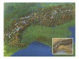 Alps, Europes Backbone Map 1965 Kunst