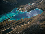 Emerald lagoons sparkle on a mountaintop in the Cerro de Pasco region Photographic Print by Bobby Haas