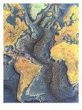 1968 Atlantic Ocean Floor Map Art
