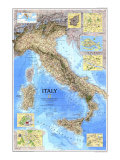 1995 Italy Map Premium Giclée-tryk af  National Geographic Maps