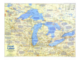 1987 Great Lakes Map Side 1 Posters by  National Geographic Maps