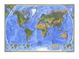 1975 Physical World Map Reproduction giclée Premium par  National Geographic Maps