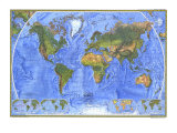 1975 Physical World Map Posters by  National Geographic Maps