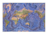 World Ocean Floor Map 1981 Print