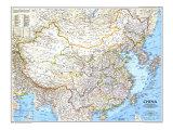 1991 Karta över Kina Gicléetryck på högkvalitetspapper av  National Geographic Maps