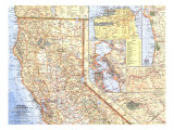 1966 Northern California Map Prints by  National Geographic Maps