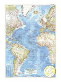 1955 Atlantic Ocean Map Posters by  National Geographic Maps