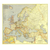 1938 Europe and the Mediterranean Map Prints