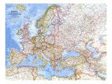 1962 Europe Map Art by  National Geographic Maps