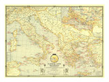 1940 Classical Lands of the Mediterranean Map Poster by  National Geographic Maps