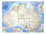 Australia Map 1963 Plakater af National Geographic Maps