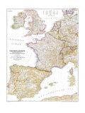 1950 Western Europe Map Prints