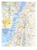1963 Holy Land Today Map Art by  National Geographic Maps