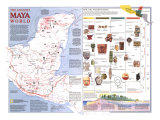 Ancient Maya World Map 1989 Posters