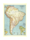 1942 South America Map Art by  National Geographic Maps