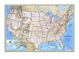 Kaart Verenigde Staten 1993 Kunst van  National Geographic Maps