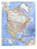 1964 North America Map Prints by  National Geographic Maps