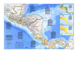 Central America Map 1986 Poster af National Geographic Maps