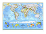 1994 World Political Map Print by  National Geographic Maps