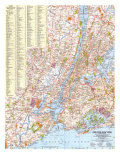 1964 Greater New York Map Prints by  National Geographic Maps