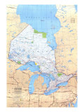 Map of Ontario Canada, Giclee Print