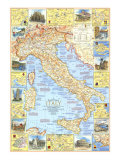 1970 Travelers Map of Italy Posters