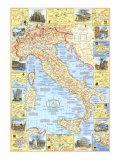1970 Travelers Mapa de Italia  Pósters por National Geographic Maps