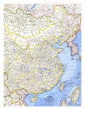 1964 China Map Prints by  National Geographic Maps