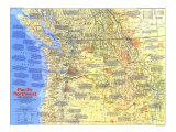 1986 Pacific Northwest Map Side 1 Posters by  National Geographic Maps
