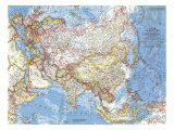 1959 Asia and Adjacent Areas Map Prints by  National Geographic Maps