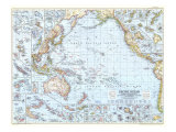 Pacific Ocean Map 1952 Posters