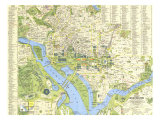 1964 Tourist Washington Map Prints