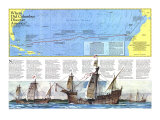 Where Did Columbus Discover America  Map 1986 Posters