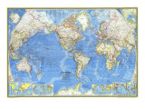 1970 World Map Print by  National Geographic Maps